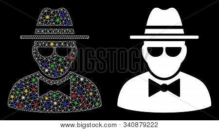 Glossy Mesh Secret Agent Icon With Glare Effect. Abstract Illuminated Model Of Secret Agent. Shiny W