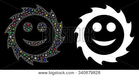 Glowing Mesh Circular Blade Smile Icon With Glow Effect. Abstract Illuminated Model Of Circular Blad