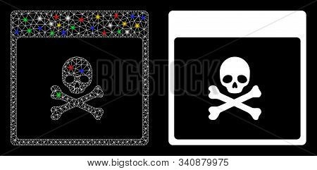 Glowing Mesh Poison Skull Calendar Page Icon With Lightspot Effect. Abstract Illuminated Model Of Po