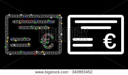Flare Mesh Euro Cheque Icon With Lightspot Effect. Abstract Illuminated Model Of Euro Cheque. Shiny