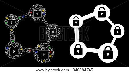 Flare Mesh Blockchain Network Icon With Glow Effect. Abstract Illuminated Model Of Blockchain Networ