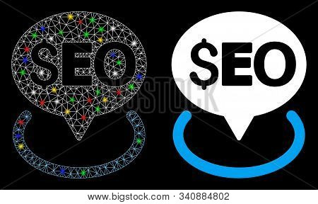 Glossy Mesh Seo Geotargeting Icon With Glow Effect. Abstract Illuminated Model Of Seo Geotargeting.