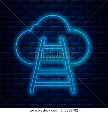 Glowing Neon Line Ladder Leading To Cloud Icon Isolated On Brick Wall Background. Stairs Leading To