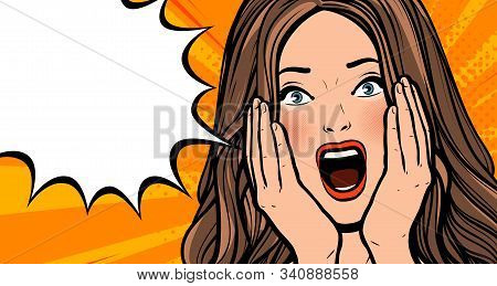 Delighted Girl Or Young Woman. Pop Art Retro Comic Style. Cartoon Vector Illustration