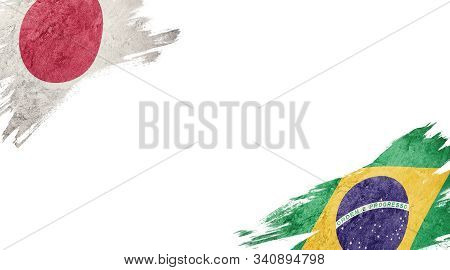 Flags Of Japan And brasil On White Background
