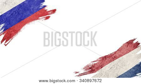 Flags Of Russia Andnederland On White Background