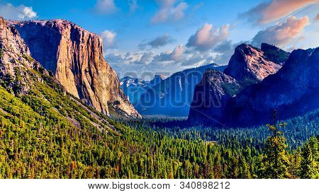 Tunnel View Of Yosemite Valley With Famous Granite Rock El Capitan On The Left And Dry Bridalveil Fa