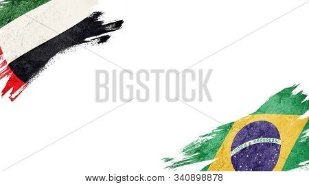 Flags Of Uae And brasil On White Background
