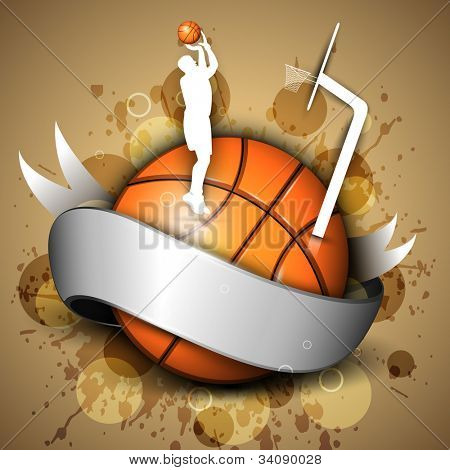 Basketball icon or element with a shiny ribbon, silhouette of a man player practicing with ball and pillar on grungy brown background. EPS 10. poster
