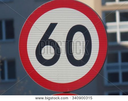Road Sign Speed Limit 60 Km Per Hour, Round Prohibition Sign, White, Red, Black Colour, Close Up