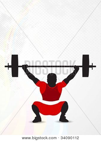 Silhouette of a weight lifter trying to  heavy weight on abstract dotted background with grunge effects. EPS 10. poster
