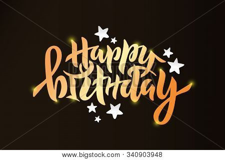 Vector Stock Illustration Of Happy Birthday Inscription With Paper Cut Stars For Greeting Card, Invi