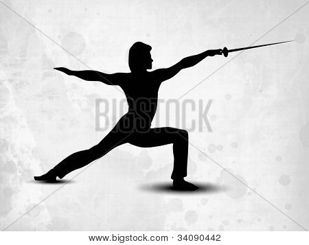 Silhouette of fencing athlete practicing on abstract grungy grey background. EPS 10.