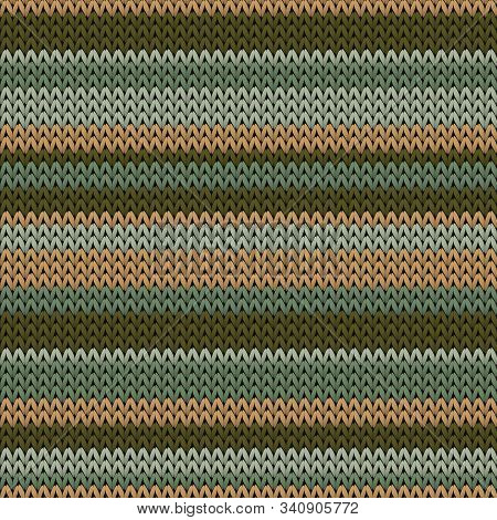 Woolen Horizontal Stripes Christmas Knit Geometric Vector Seamless. Jumper Knitwear Fabric Print. No