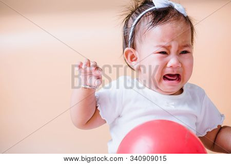 Asian Child Baby Sad Cry, Face Is Sadness Unhappy