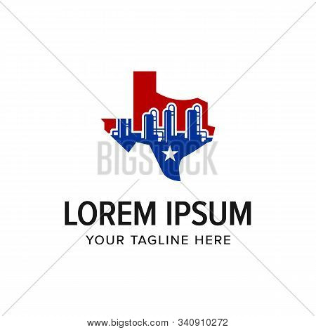 Texas Industrial Logo. Oil And Gas American Company. Branding For Factory, Manufacture, Engineering,