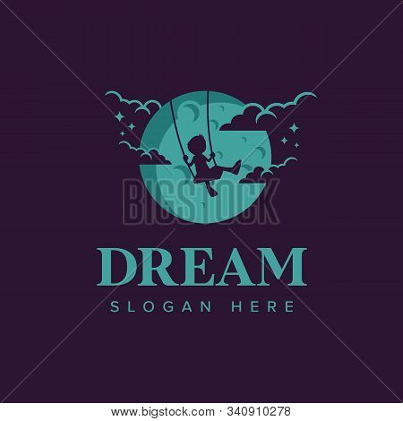 Dream Logo Iconic. Child Play Swing In The Moon. Branding For Creative, Film, Movie Maker, Child And