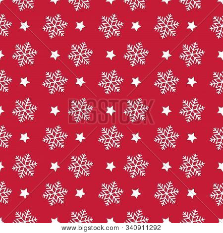 Snowflake Seamless Pattern. Christmas Symmmetry Texture. Red Background. Designs For Wrap, Pack, Cov