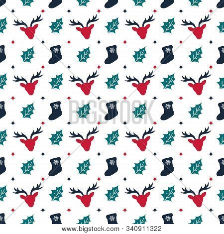 Reindeer Seamless Pattern. Christmas Symmmetry Texture. Designs For Wrap, Pack, Cover, Cards, Gifts,