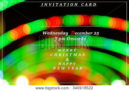 Abstract Background Of Christmas Invitation Card, Xmas Invitation Card On Bokeh Background, New Year