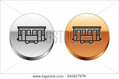 Black Line Old City Tram Icon Isolated On White Background. Public Transportation Symbol. Silver-gol