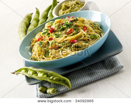 spaghetti with bean broad sauce and hot chili pepper