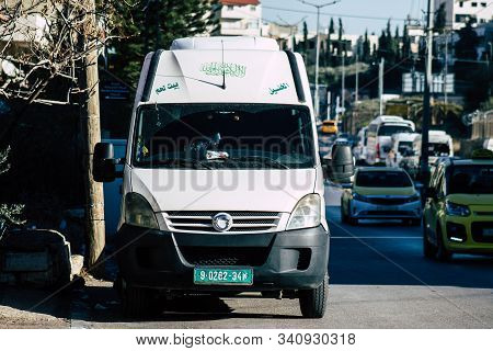 Palestinian Territory Bethlehem December 16, 2019 View Of A Local Micro Bus Rolling In The Streets O