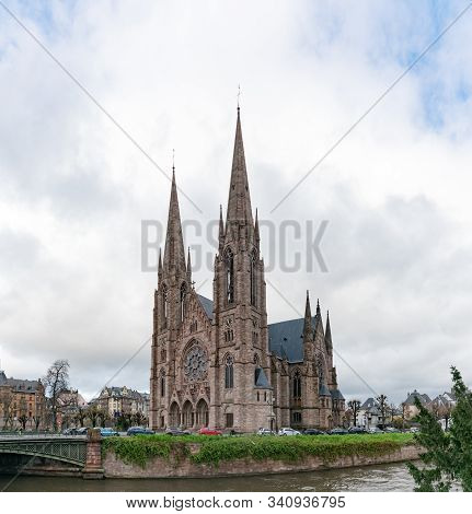 View Of The Saint Paul's Church Of Strasbourg On A Cool Winter Day