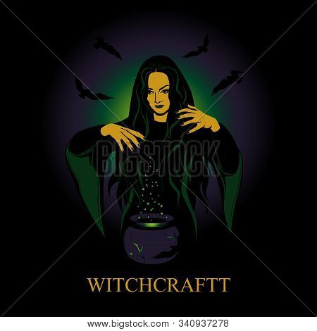 Vector Image Of A Witch Conjures. Witch Conjures Over A Vase With A Potion.