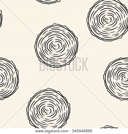Cross Section Of Tree Stump Doodles Seamless Pattern. Wooden Cut Section Doodle. Cartoon Comic Style
