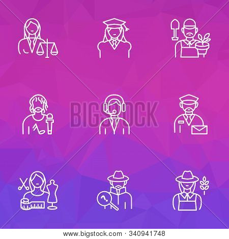 Occupation Icons Line Style Set With Farmer Woman, Judgment, Assistant And Other Mailman Elements. I
