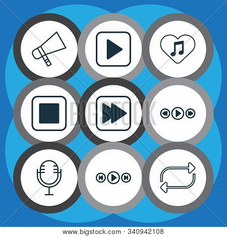 Multimedia Icons Set With Megaphone, Favorite Tune, Media Player And Other Mike Elements. Isolated V
