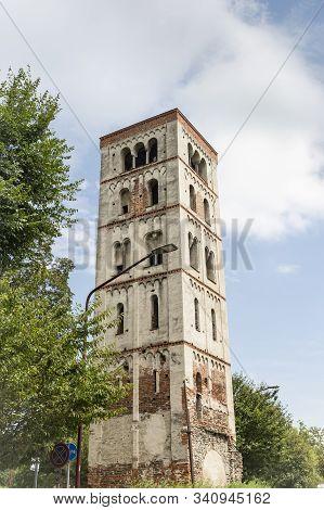 The Bell Tower Of Santo Stefano In Ivrea City, Turin, Region Piemonte, Italy