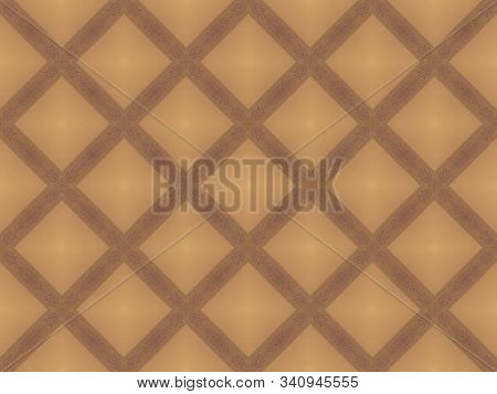 Abstract Background Texture In Geometric Ornamental Style In Brown, Orange And Chamois Color. Symmet