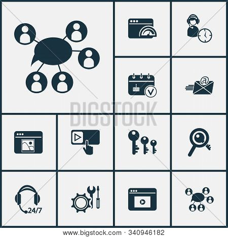 Business Icons Set With Subscribe, Keyword Research, Assistance And Other Key Sorting Elements. Isol