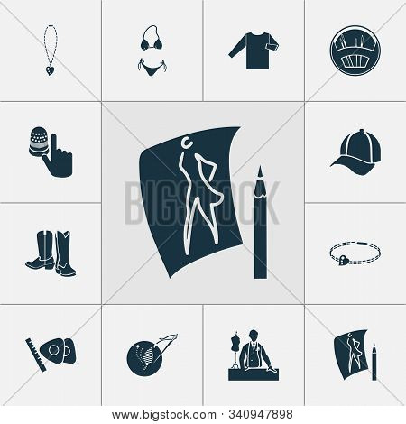 Fashionable Icons Set With Knitwear, Thimble, Fashion Sketch And Other Needlework Elements. Isolated
