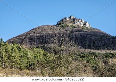 Vapec Hill, Strazov Mountains In Slovak Republic. Seasonal Natural Scene.