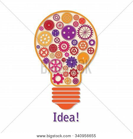 Vector Illustration Of Light Bulb Made Of Colorful Cogwheels