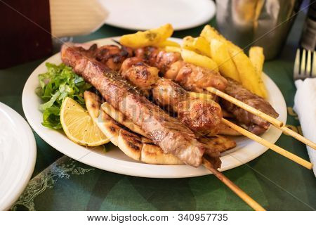 Traditional Souvlaki Greek Dish With Chicken And Meat In Athens