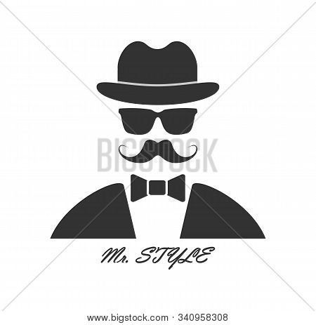 Creative Men's Fashion Brand. Tailcoat With Bow Tie, Bowler Hat And Mustache With Glasses