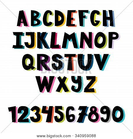 Colorful Set Of Hand Drawn Font. School English Alphabet. Multicolored Bright Letters. Cute Cartoon