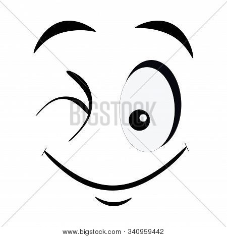 Winking Emoticon Isolated On White Background. Blinking Smile Face With Facial Expression In Flat St