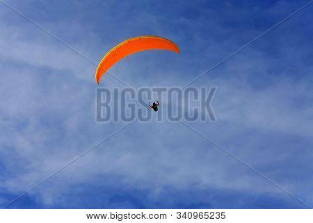 Close Up Shot Of Orange Paraglide Canopy