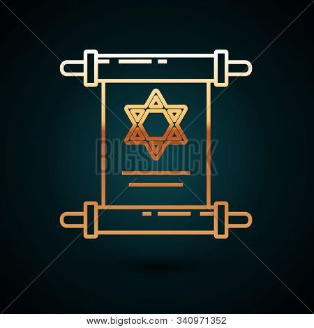 Gold Line Torah Scroll Icon Isolated On Dark Blue Background. Jewish Torah In Expanded Form. Star Of