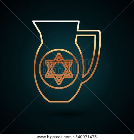 Gold Line Decanter With Star Of David Icon Isolated On Dark Blue Background. Pottery Jug. Organic Pr