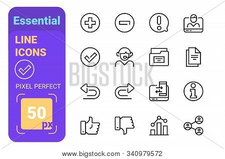 Essential Line Icons Set Vector Illustration. Trendy Modern Icons For Website And Brochures And Mobi