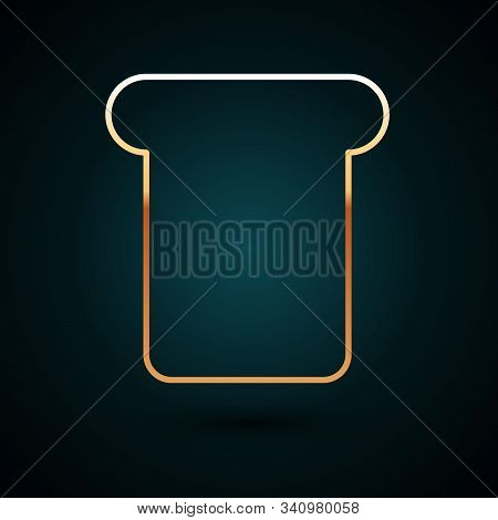 Gold Line Bread Toast For Sandwich Piece Of Roasted Crouton Icon Isolated On Dark Blue Background. L