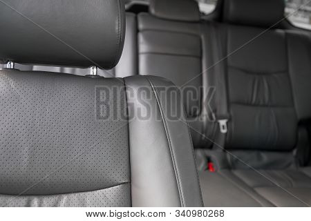 Upholstery Of The Seats Of The Passenger Compartment Of A Luxury Car With Gray Perforated Genuine Le