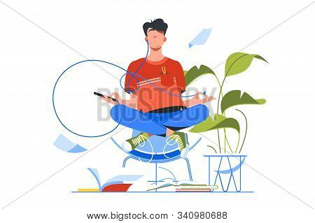 Young Handsome Man Meditating Using Smartphone For Yoga Training. Isolated Concept Relax Person Char