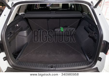 Novosibirsk, Russia - 12.19.2019: View To The Black Interior Of Skoda Kodiaq With Large Trunk Anв Op